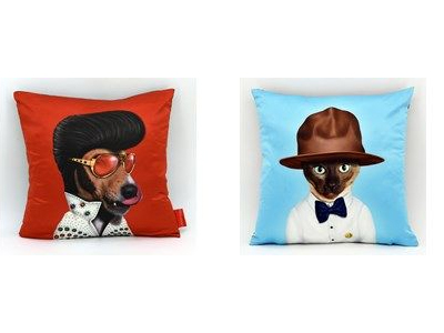 elvis and cat pillows
