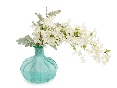 aqua vase with white flowers