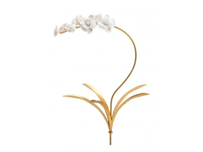 white porcelain flowers on gold stem wall hanging