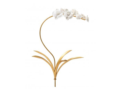 white flowers on gold stem wall hanging