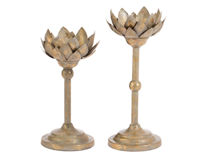 antiqued gold lotus flower candle holders