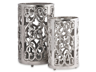 ornate silver candle holders