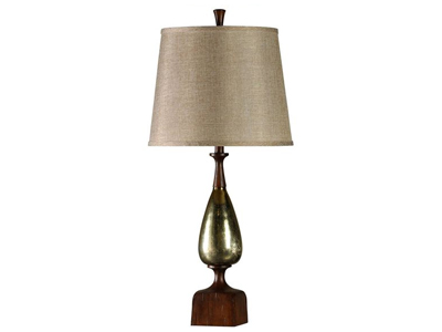 gold lamp with green accents