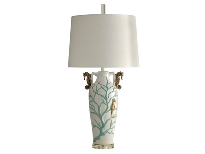 porcelain lamp with blue coral and sea horses