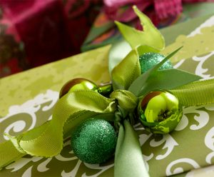Ornaments on gift wrap