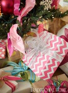 Pink holiday gift wrapping