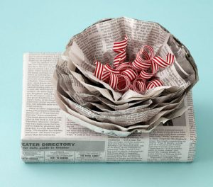 Present wrapped in newspaper