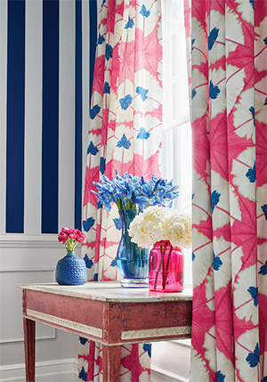 navy and bright pink room