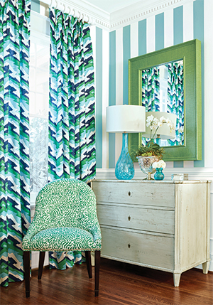 navy with green accents room