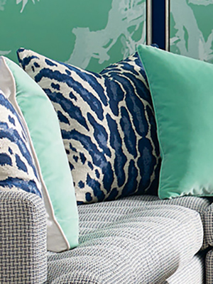 navy and aqua pillow
