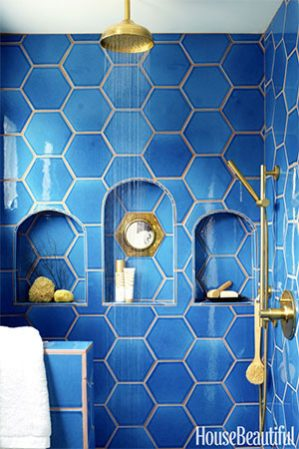 blue tile with light colored grout