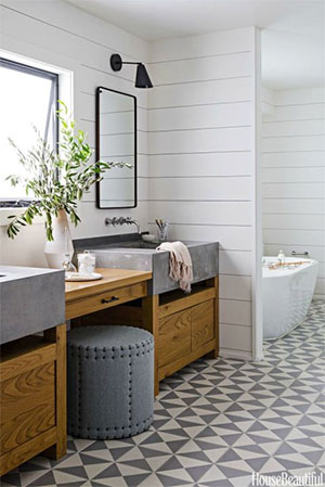 grey tile in modern bathroom
