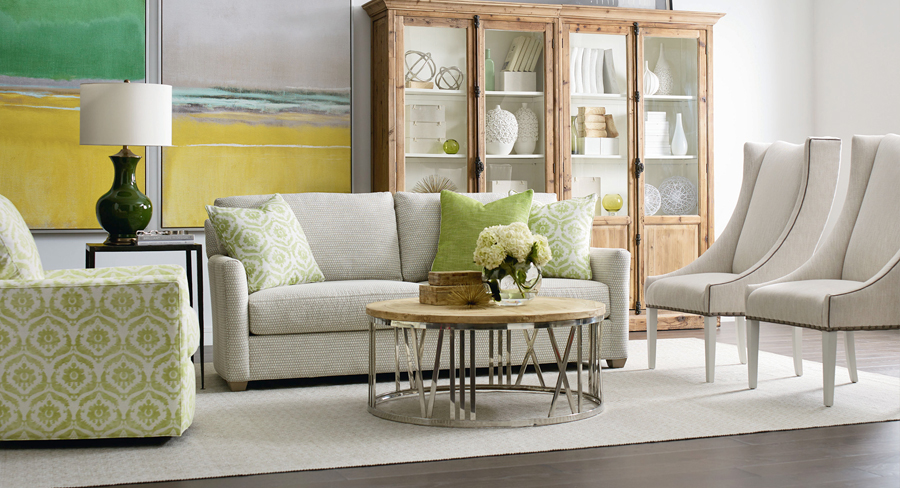 solid colored sofa with subtle print