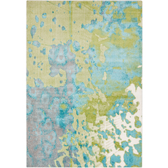 turquoise and yellow area rug