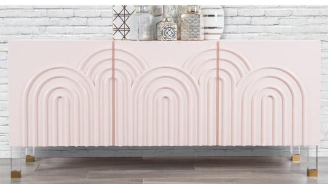 blush pink credenza