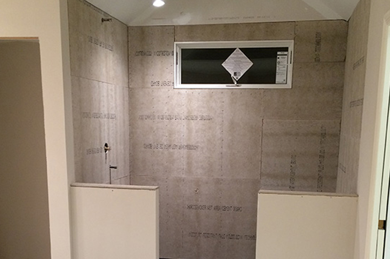 interior design bathroom project with featured tile