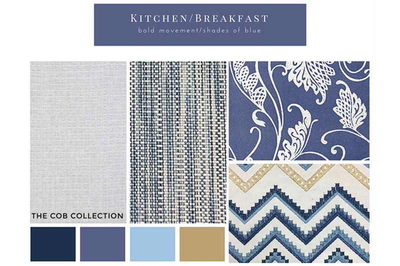 blue mood board for kitchen interior design project