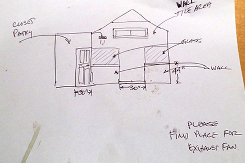 sketch for interior design bathroom project