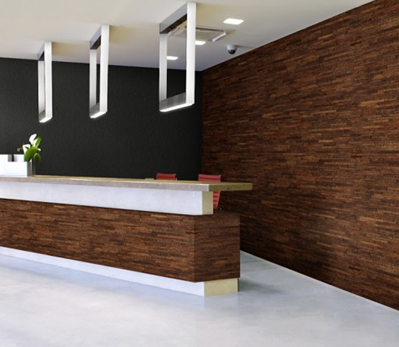 palm wood wall and desk area