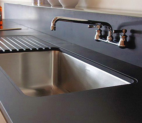 black recycled paper countertop