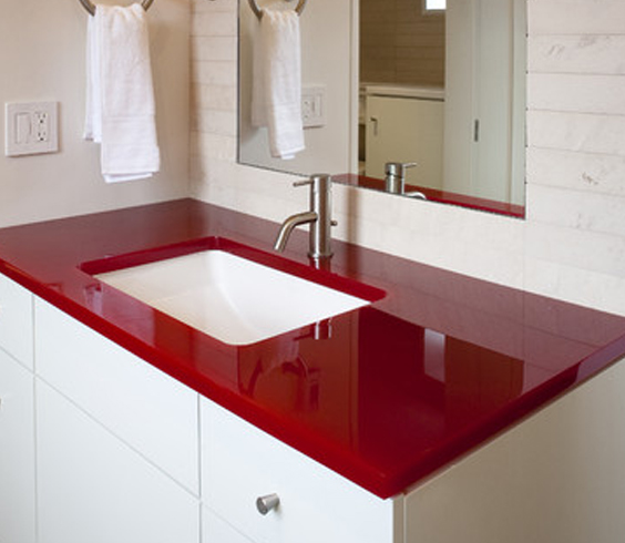 red resin countertop
