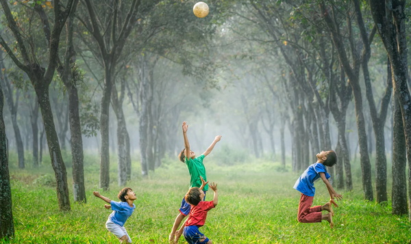 children playing with ball in forest