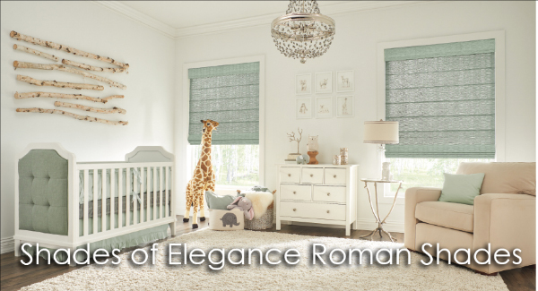 baby's room with soft green roman shades