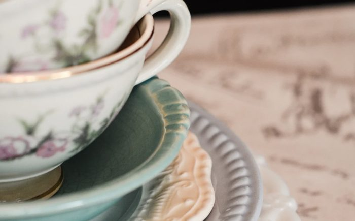 antique tea cup and plates