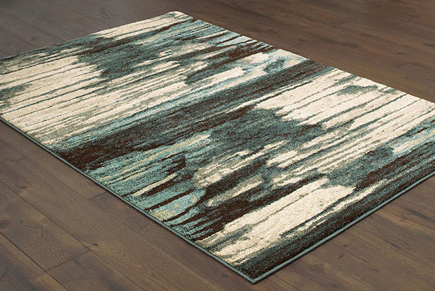 blue and green soft patterned rug