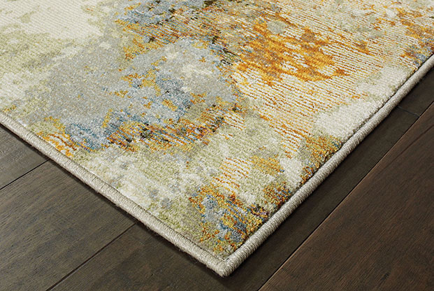 sunroom rug with gold and light blue colors